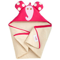 Organic Hooded Towel Ellie the Elephant Pink