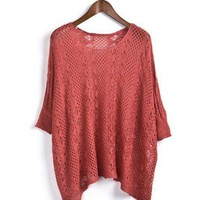 Red 3/4 Length Sleeve Hollow Sweater$40.00
