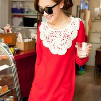 Red Hook Flower Brought Lantern Sleeve Sweater$39.00