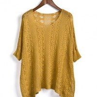 Yellow 3/4 Length Sleeve Hollow Sweater$40.00