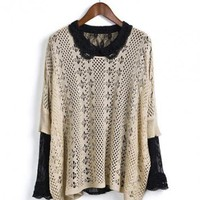 Beige 3/4 Length Sleeve Hollow Sweater$40.00