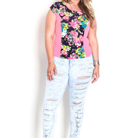 Plus Size Floral Contrast Knit Top