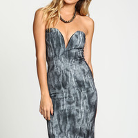 Water Color Sweetheart Plunged Dress