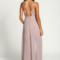 Taupe Strappy Slit Chiffon Maxi Dress