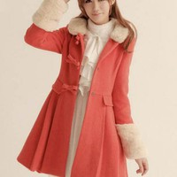 Fur Collar Wool Coat Red$42.00
