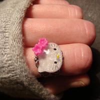 Hello Kitty Antique Silver Filigree Ring- Adjustable