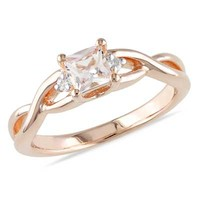 4.0mm Princess-Cut Morganite and Diamond Accent Promise Ring in Rose Rhodium Plated Sterling Silver
