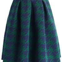 Houndstooth Quilted Skirt in Green Green