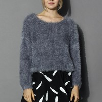 Fuzzy Knitted Sweater in Grey Grey S/M