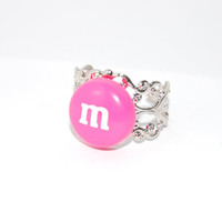 Pink M&M Adjustable Filigree Band Ring