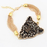 Leopard Head Chain Necklace with Rhinestone Embellish