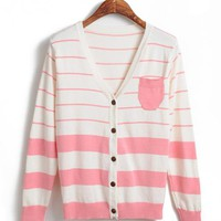 Pink  Stripes Loose Sweater$39.00