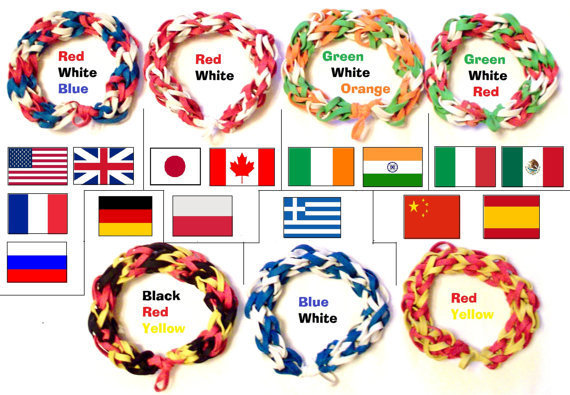 Country Flag Colored Rubber Band Bracelets by BungleBands on Etsy