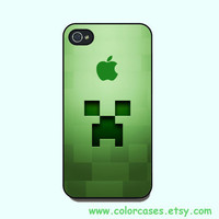iphone 4 case - Minecraft creeper, cute iphone 4 case, iphone 4S case in plastic or silicone,color in black or white or clear