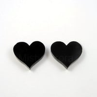 Black Heart Earrings - Chic Earrings - Noir Jewelry - Romantic Earrings - Everyday Jewelry - Free Shipping