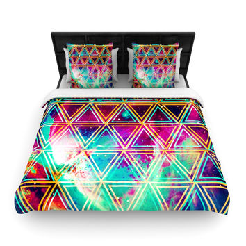"Caleb Troy ""Neon Triangle Galaxy"" Map Woven Duvet Cover - Woven /"