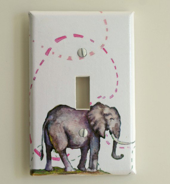 Elephant Decorative Light Switch Plate From Idillard On Etsy