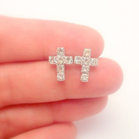 Cross Post earrings - Clear Rhinestones Cross - Cross Jewelry Last ones