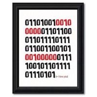 I Love You in Binary  Red and Black 8 X 10 Geek by TheWallaroo