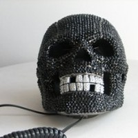 BLACK BEJEWELLED SKULL TELEPHONE