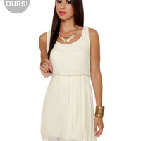 Pretty Ivory Dress - Pleated Dress - Off-White Dress - $45.00