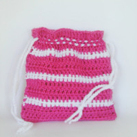Small Crochet Drawstring Purse in Pink and White Women Girls Boho Hippie