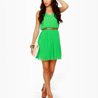 Cute Belted Dress - Green Dress - Sleeveless Dress - $54.00