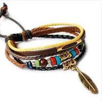 Bangle leather bracelet ropes bracelet men brcelet women bracelet fashion bracelet made of leather ropes wood beads and metal SH-2481