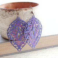 Purple Earrings, Patina Earrings, Filigree Jewelry, Large Earrings, Long Earrings, Gypsy, Boho, Bohemian, Sugar Plum, Lavender, Orchid