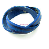 unisex bracelet couple leather bracelet  women blue Leather Bracelet Men Leather Bracelet 1265A