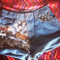 Crazy for CATS hipster studded High Waist Shorts