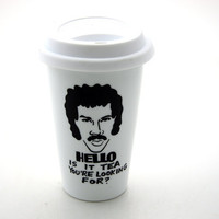Lionel Richie Hello is it tea you're looking for Travel Mug Double Walled Porcelain with Lid Kiln Fired
