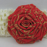Baby Headband Christmas Red and Gold