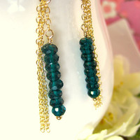 Peacock Teal Blue Quartz Rondelle Gold Tassle Chain Earrings