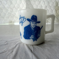 Fire King Mug white milk glass Hopalong Cassidy vintage