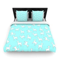 "Monika Strigel ""Baby Llama Multi"" Blue White Woven Duvet Cover"
