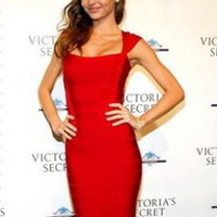 Herve Leger red square-neck bandage dress