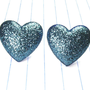 blue glitter heart earrings - blue heart earrings - blue heart studs - hearts - blue heart jewelry - heart earrings - heart jewelry - blue