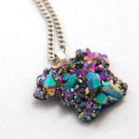 Rainbow druzy quartz cluster necklace - One of a Kind Statement Jewelry