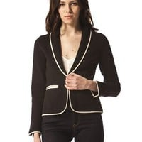 Cotton Piped Tux Blazer by 525 America