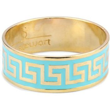 "Lisa Stewart ""Modern Myth"" 14k Gold-Plated Turquoise-Color Enamel Bangle Bracelet - designer shoes, handbags, jewelry, watches, and fashion accessories 