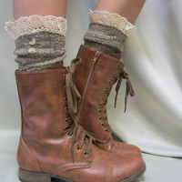 Nordic Lace  short boot  lace socks 3 tweed colors combat or cowboy boot socks by Catherine Cole Studio ruffled lace SLX1BL Made  in usa