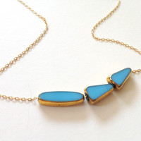 This Way Blue Necklace - blue 22k gold bead, 14k delicate gold chain -  elegant jewelry by LilahV