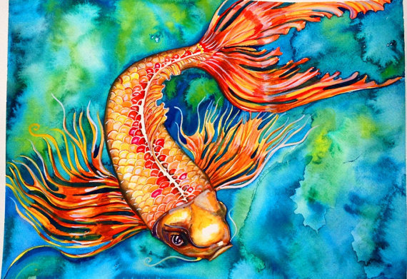Koi fish original watercolor painting from snowseychelle for Original koi fish