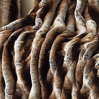 Couture Collection Tan Chinchilla Ruched Throw 60 X 60 | Fabulous Furs