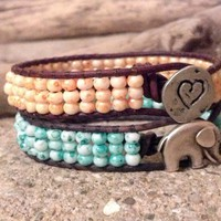 The New Tie Dye, Leather Wrap Bracelet, Friendship Bracelet, PZW102