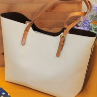 PU White Single-Shoulder Simple Design Big Bag  style cy820015-White in Handbags& Bags
