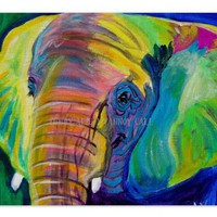 Colorful Elephant Animal Art Print 20x30 by Alicia VanNoy Call