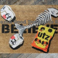 SALE 10% off- BELIEVE- Hand Painted doormat | Damn Good Doormats