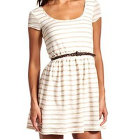 Belted Lurex Stripe Skater Dress: Charlotte Russe